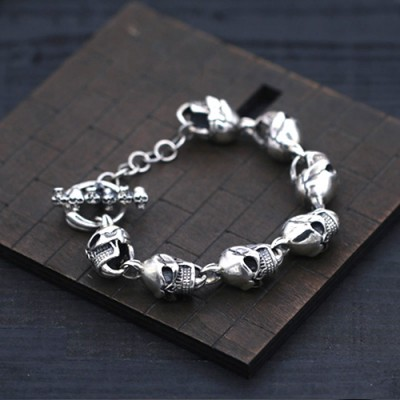 Men's Sterling Silver Skulls Clasp Chain Bracelet