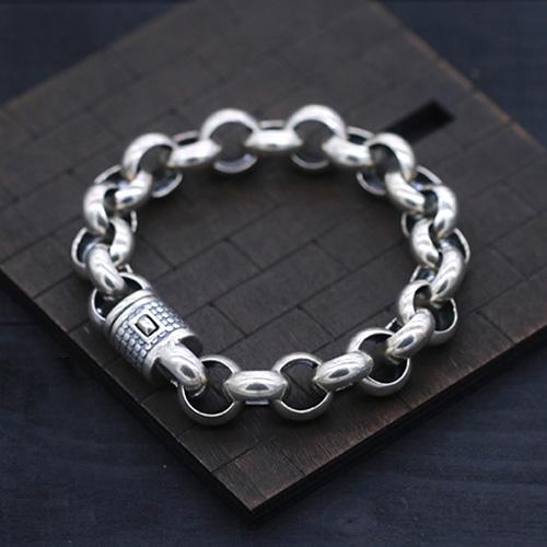 Men's Sterling Silver Bold Rolo Chain Bracelet