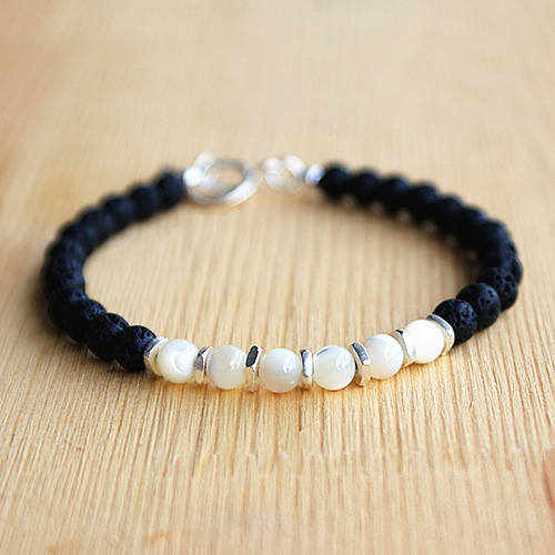 "Men's Shell and Lava Stone Beaded Bracelet with Sterling Silver Charms and Claps 6.5""-8.5"""