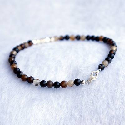"Men's Onyx Slim Beaded Bracelet with Sterling Silver Charms and Claps 6.5""-8.5"""