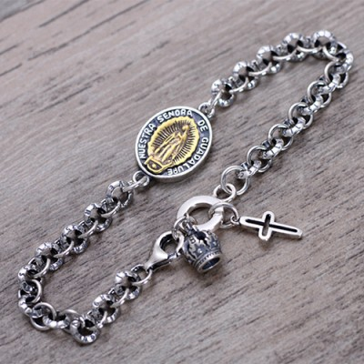 Men's Sterling Silver Virgin Mary Tag Chain Bracelet