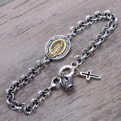 Men's Sterling Silver Virgin Mary Tag Chain Bracelet