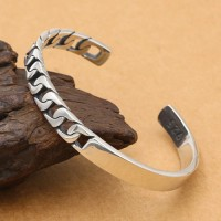 Men's Sterling Silver Half Curb Chain Cuff Bracelet