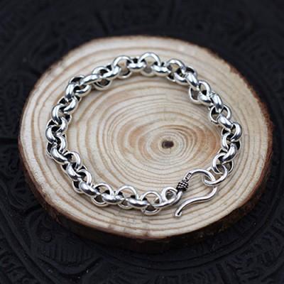 Men's Sterling Silver Wide Rolo Chain Bracelet