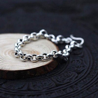 Men's Sterling Silver Wide Rolo Chain Bracelet