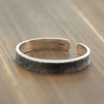 Men's Sterling Silver Stingray Leather Texture Cuff Bracelet