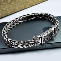 Men's Sterling Silver Ivy Buckle Hand Braided Bracelet