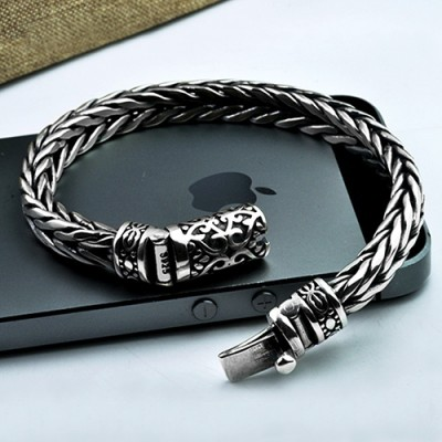 Men's Sterling Silver Ivy Buckle Hand Woven Bracelet