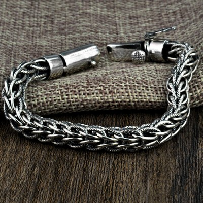 Men's Sterling Silver Rope Chain Bracelet