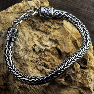 Men's Sterling Silver Wide Wheat Chain Bracelet