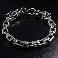 Men's Sterling Silver Six True Words Mantra Dragon Bracelet