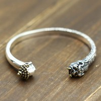 Men's Sterling Silver Buddha and Devil Cuff Bracelet