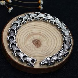 Men's Sterling Silver Dragon Grain Bracelet