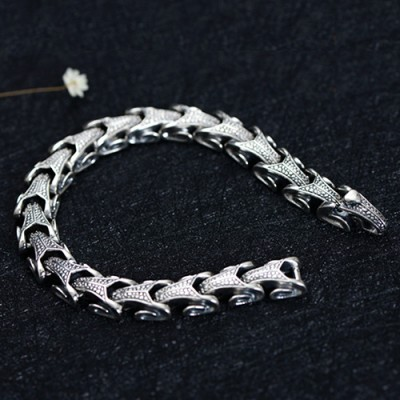 Men's Sterling Silver Dragon Grain Bracelet