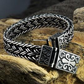 Men's Sterling Silver Fleur De Lis Wide Braided Bracelet