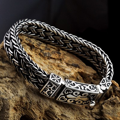 Men's Sterling Silver Fleur De Lis Wide Braided Bracelet