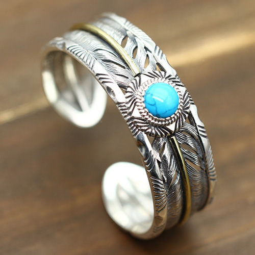 Men S Sterling Silver Turquoise Feather Wide Cuff Bracelet