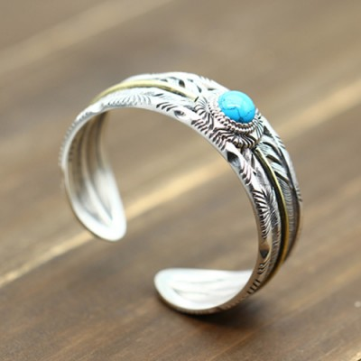 Men's Sterling Silver Turquoise Feather Wide Cuff Bracelet