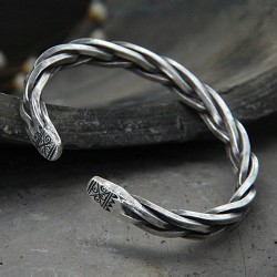 Men's Sterling Silver Thick String Braided Cuff Bracelet