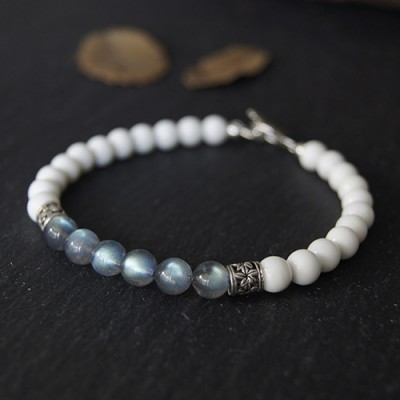 "Men's Labradorite and Tridacna Beaded Bracelet with Sterling Silver Charms 6.5""-8.5"""