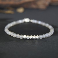 "Men's Slim Onyx Beaded Bracelet with Sterling Silver Charms and Claps 6.5""-8.5"""