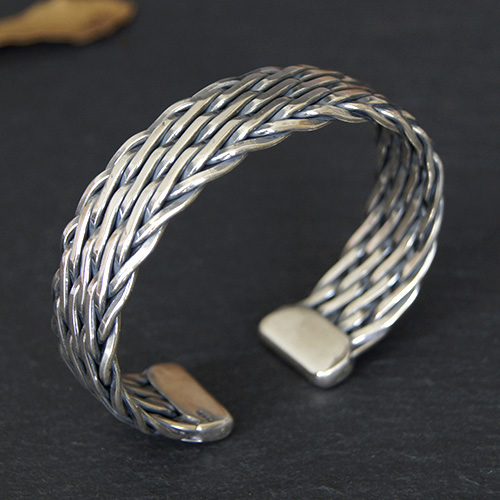 Men's Sterling Silver Wide Braided Cuff Bracelet