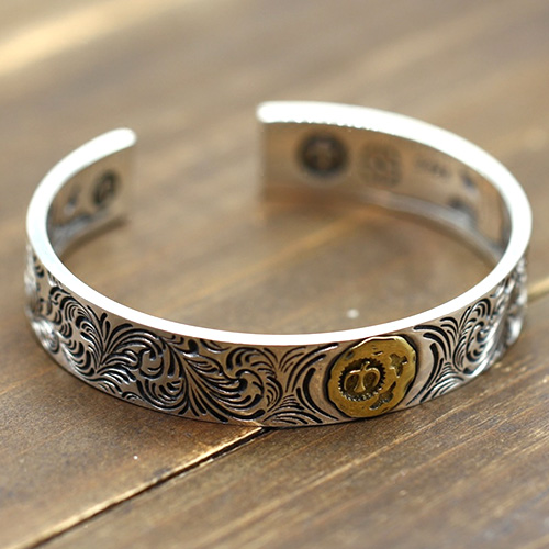 Men's Sterling Silver Ivy Pattern Eagle Cuff Bracelet