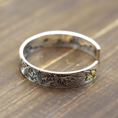 Men's Sterling Silver Ivy Pattern Eagle Cuff Bracelet