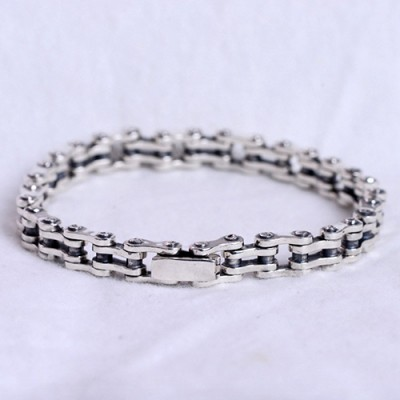 Men's Sterling Silver Bike Chain Bracelet