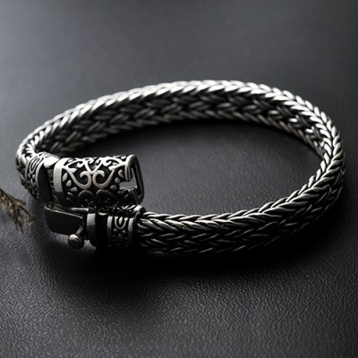 Men's Sterling Silver Ivy Buckle Braided Bracelet