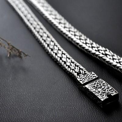 Men's Sterling Silver Ivy Buckle Braided Bracelet