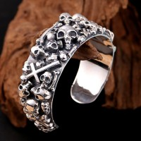 Men's Sterling Silver Skulls And Cross Cuff Bracelet