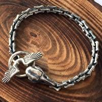 Men's Sterling Silver Raven Skull Chain Bracelet