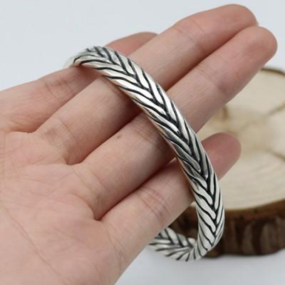 Sterling Silver Men's Braided Cuff Bracelet