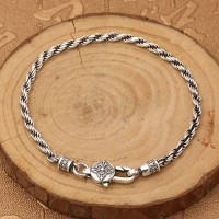 Men's Sterling Silver Six True Words Mantra Rope Chain Bracelet