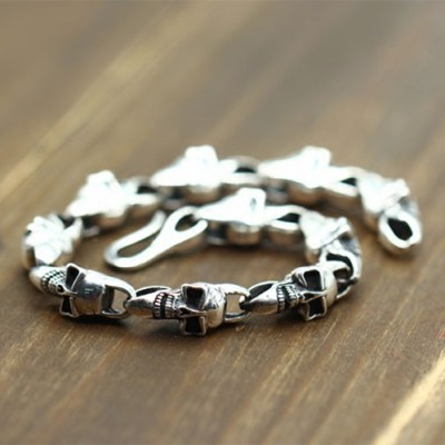 Men's Sterling Silver Chain Skulls Bracelet
