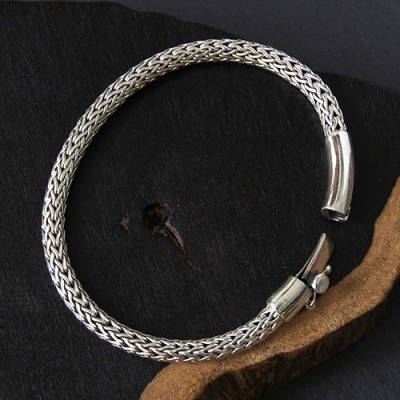Men's Sterling Silver Braided Bracelet