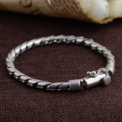 Men's Sterling Silver Snake Chain Bracelet