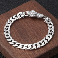 Men's Sterling Silver Cobra Skulls Curb Chain Bracelet