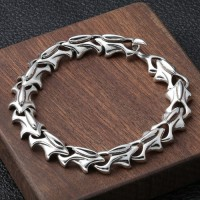 Men's Sterling Silver Dragon Armor Chain Bracelet