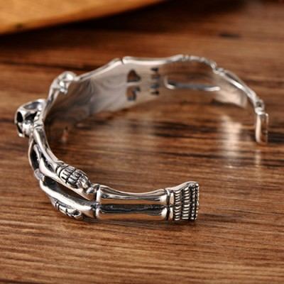 Men's Sterling Silver Skeletons Cuff Bracelet