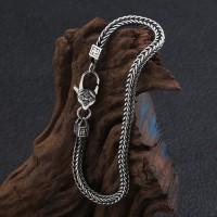 Men's Sterling Silver Wheat Chain Bracelet