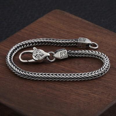 Men's Sterling Silver Wheat Chain Bracelet