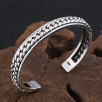 Men's Sterling Silver Chain Pattern Cuff Bracelet