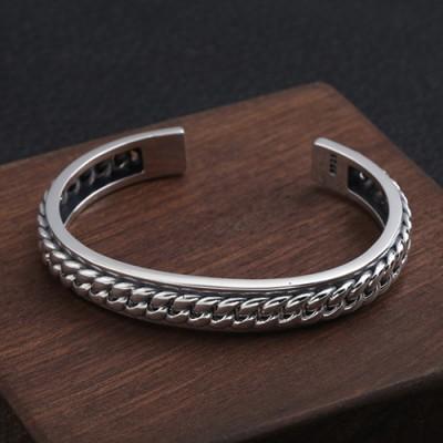 Men's Sterling Silver Chain Pattern Cuff Bracelet
