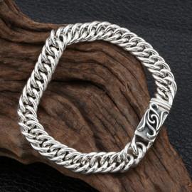 Men's Sterling Silver Ivy Buckle Curb Chain Bracelet