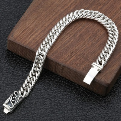 Men's Sterling Silver Ivy Buckle Curb Chain Bracelet