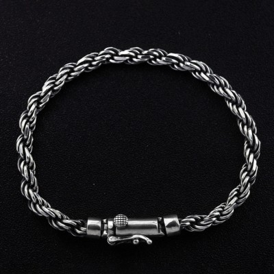 Men's Sterling Silver Slim Rope Chain Bracelet