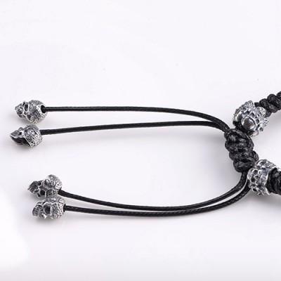 Men's Sterling Silver Raven Skull Braided Bracelet