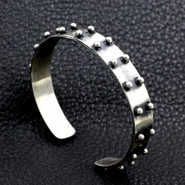 Men's Sterling Silver Rivet Cuff Bracelet